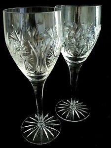 "Set 2 Vintage Cut Crystal Pinwheel & Star of David Crystal Wine Glasses 8-1/4"""