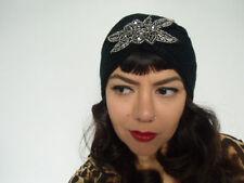 Mütze turban schwarz retro vintage jahre verrückte ausführung perlen silbern