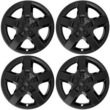 "4pc Set Fits 17"" Inch BLACK 5 Spoke Hub Cap Rim Steel Wheel Skin Lug Full Cover"