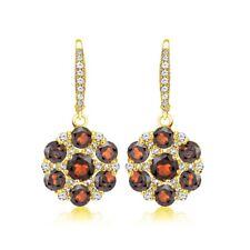 Flower Garnet & White Topaz Dangle Earrings in Gold Plated Sterling Silver