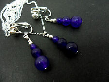 A PAIR OF PURPLE AMETHYST JADE NECKLACE & CLIP ON EARRING SET . NEW.