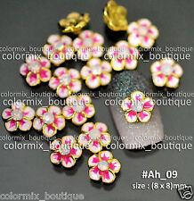 10pcs Nail Art Tips Decoration Alloy Jewelry (8 x 8)mm Pink Flower #Ah_09