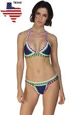2XL US Stock Women 2pc Blue Handmade Crotchet Neoprene Latex Swimsuit Sexy