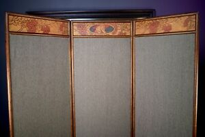 Antique Arts & Crafts Pyrography Oak 3 Section Dressing Room Divider Screen