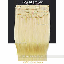 """Platinum Blonde Straight Clip in 20"""" Remy Human Hair Extensions Double Weft 1718"""