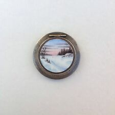 Vintage 1950 Russia Power Compact Enamel Porcelain Round Puff Box with Mirror