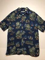 BATIC BAY Men's Large Short Sleeved Hawaiian Shirt Palm Trees RN 7096