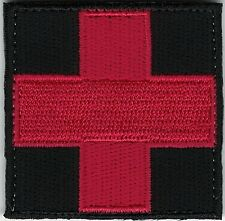 "2"" Red on Black Medic Red Cross Paramedic Hook side Fastener Patch"