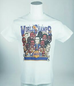 NEW VTG 80s Los Angeles Lakers NBA Finals World Champions Caricature Tee bootleg