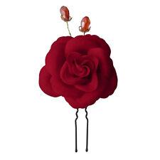 1 épingles pics cheveux chignon mariage mariée grand fleur camélia velours rouge