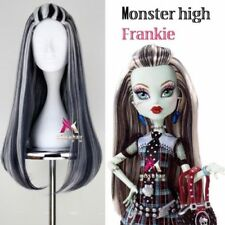 Movie Monster High Frankie Stein Wig Black White Long Straight Cosplay Anime Wig