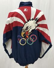 VTG - USA 1996 Olympic Starter Jacket - Red White & Blue Eagle - Men's XL