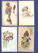 Set of 4 postcards w/Children. Artist signed LEVASEUR + CENNI + KOLLIN + ?