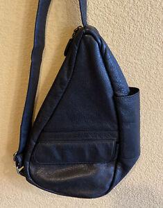 AMERIBAG Black Leather Sling Bag Purse Healthy Back Ergonomic Travel Pockets