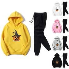 Halloween Damen Trainingsanzug Kürbis Sportanzug Hoodie Kapuzenpullover?Hose Neu