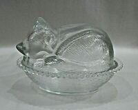 Indiana Glass Clear Sleeping Cat Bed Beaded Basket Covered Candy Dish FREE S/H