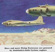 1943 WWII Ad~STUDEBAKER Flying Fortress Bombing Power~Powered by Cyclone Engines