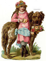 Vintage Victorian die cut paper scrap, Girl with a large dog c. 1880.