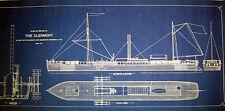 "Robert Fultons Steamboat ""Clermont"" 1807 Blueprint Plan 16x35  (234)"