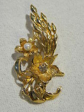 Exquisite Gold-tone Two Flowers Brooch