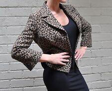 Georges Rech Brown Leopard Animal Print Virgin Wool Crop Jacket 40 Womens