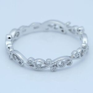 Solid 10k White Gold Antique Filigree Wedding Lei Band Carving Fine Diamond Ring
