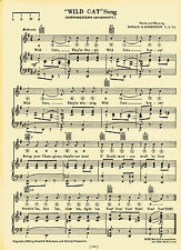 "Vintage NORTHWESTERN UNIVERSITY song- ""WILD CAT SONG"" c29 - Evanston, Illinois"