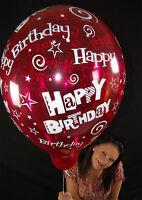 "5 x Qualatex 16"" HAPPY BIRTHDAY Luftballons in KRISTALLFARBEN *CRYSTAL TONES*"