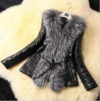 Luxury Women Winter Faux Leather Outwear Parka Faux Fur Collar Jacket Warm Coat