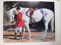 30X35 SIR ALFRED MUNNINGS GREY HUNTER HORSE HUNTING LITHO  ENGLAND PRINT POSTER