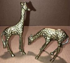 Giraffe Two Small Solid Brass Spotted Giraffe Figure Statue's Set Of 2