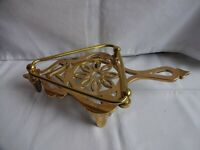 Antique brass flat iron trivet stand with guard fireside ornament length 25 cm