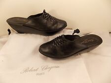 ROBERT CLERGERIE (MADE IN FRANCE) BLACK SOFT LEATHER MID HEEL CLOG 8 M $595.00!!