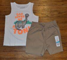Papá Loves Me sin mangas Dino Camiseta Tirantes & Marrón Short Set Disfraz 18 TO