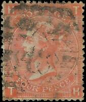 VEGAS - 1865 Great Britain Sc# 43 Victoria 4p - Plate 10 - Cat= $150! - (FE28)