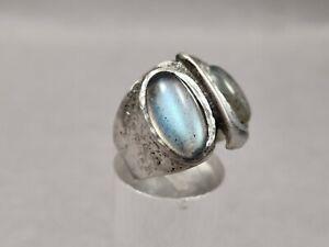 Vintage Ring 835 Silber Monika & Burkhard Oly Modernist mit Mondstein Designer