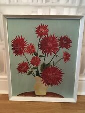 VINTAGE 1963 FLORAL DAHLIAS STILL LIFE OIL PAINTING ON BOARD SIGNED