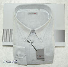 CAMICIA UOMO Taglie forti 4XL manica lunga cotone caldo calibrata grigio chiaro