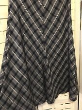 M&S A Line Checked Skirt Navy Grey Off White Lined