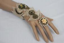Women Vintage Gold Hand Chain Beige Lace Bracelet Punk Rock Clock Angel Flowers