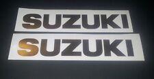 Suzuki tank sticker / decal pair. size 203mm x 30mm Chrome