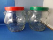 KRAFT PEANUT BUTTER BEAR JARS VINTAGE GLASS LOT OF 2 BOW TIE COOKIE JARS