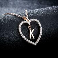 26 Letter Necklace Womens Rhinestone Heart Pendant Charm Hollow Choker Necklace