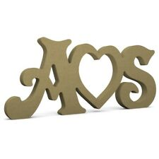 """Initials and Heart (hollow) 6"""" (15cm) 18mm MDF Wood Letters Victorian"""