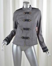 JUICY COUTURE Womens Gray Cotton Denim Military Cadet Long-Sleeve Jacket S NEW