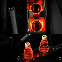 Solar Charge Car Cup Holder Bottom Pad Mat +LED Light Cover Trim Atmosphere Lamp