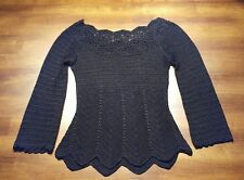 Crochet Top w/ Lace Design Collar Long Sleeve Shirt Black Size Small