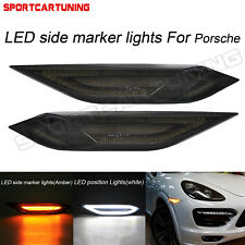 For 2011-2014 Porsche Cayenne 958 LED Smoke Front Side Marker Lights Signal Lamp