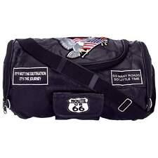 """15.5"""" Black Buffalo Leather Motorcycle BARREL BAG Luggage Rack Storage Straps"""