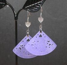 Lavender 925 Sterling Silver Jade Earring Dangle FAN Lotus Flower Ruyi 279562